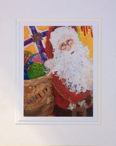 Santa Print on Canvas with Mat