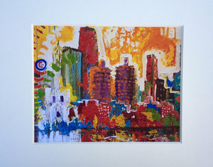 "Chicago Print on Canvas with mat 11""x14"""