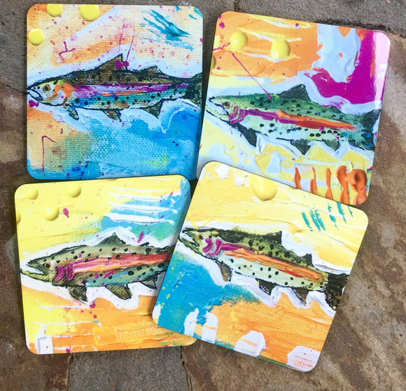 Rainbow Trout Coasters set of 4 different fish