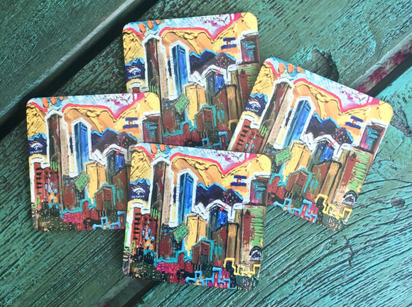 Denver, Colorado Skyline with Broncos and Rockets Set of 4 Coasters