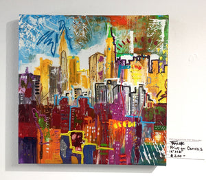 "Achival Print of NYC  on stretched canvas and ready to hang 12""X12"""