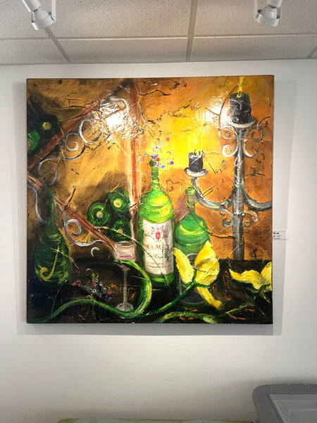 "Original Wine Painting 48""x48"""