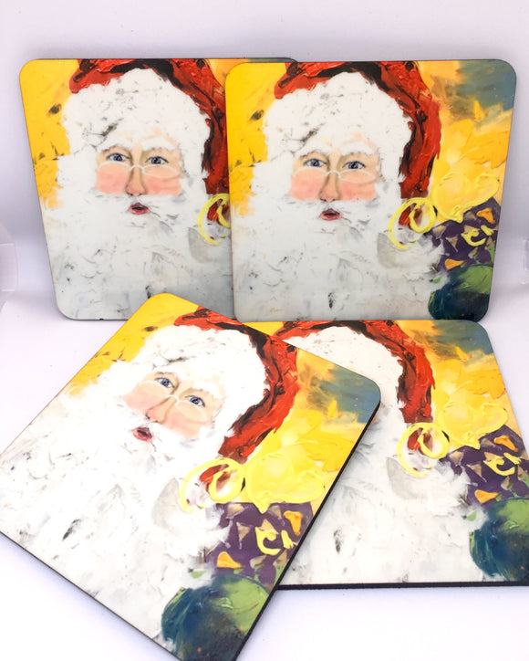 Santa coasters set of 4