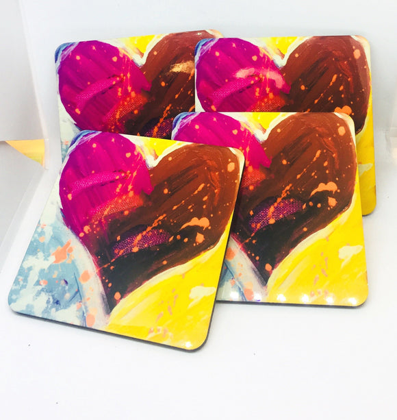 Heart coasters set of 4