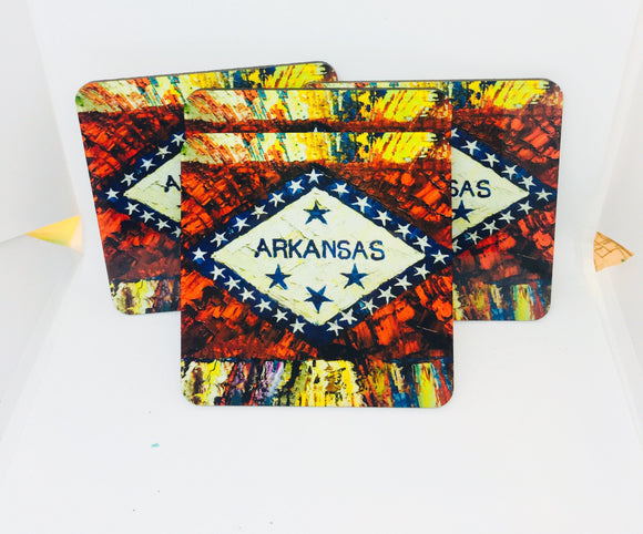 The Arkansas Flag coasters set of 4 original painting by Pat Matthews