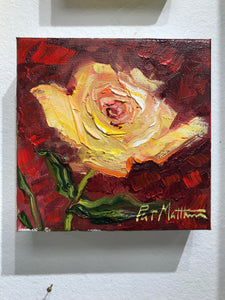 "Rose painting.. Original oil on canvas 6"" x 6"""
