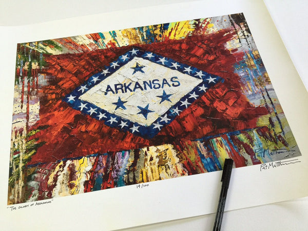"Arkansas Flag.... Archival, Limited Edition, Signed Print.. ""The Glory of Arkansas"" #017"