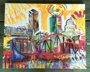 "Achival Print of downtown Little Rock stretched and ready to hang 16""x20"""