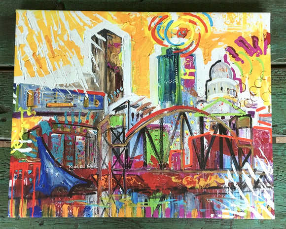 Achival Print of downtown Little Rock stretched and ready to hang 16