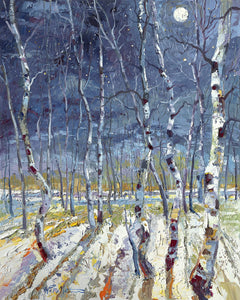 Archival Print on Canvas of Aspen Trees in Moonlight 037