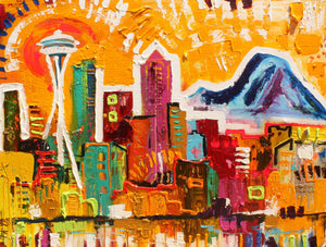 "Seattle, Washington  36""x48"""