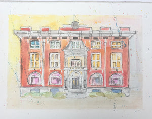 "Commissioned Original Watercolor Sketches of Architecture with Mat for Framing 8""x10"""
