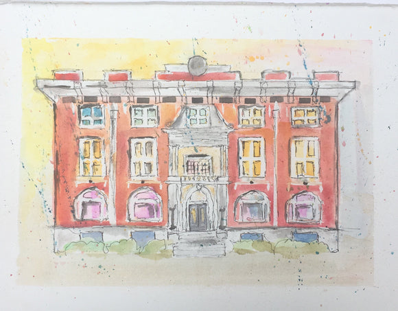 Commissioned Original Watercolor Sketches of Architecture with Mat for Framing 8
