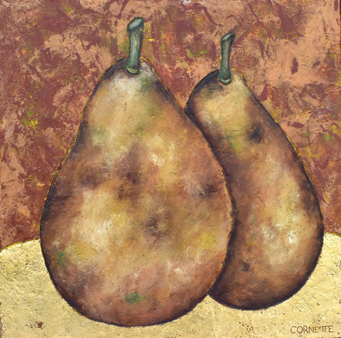 Two Pears on Gold