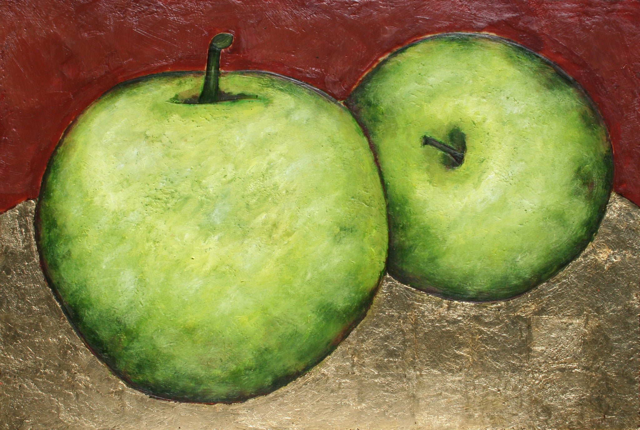 Green Apples on Gold