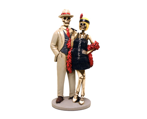 1920s Flapper Skeleton Couple Love Never Dies Figurine