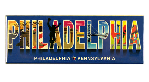 Philadelphia Icons With Text Magnet