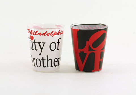 Philadelphia City of Brotherly LOVE Shot Glass (2 Colors)