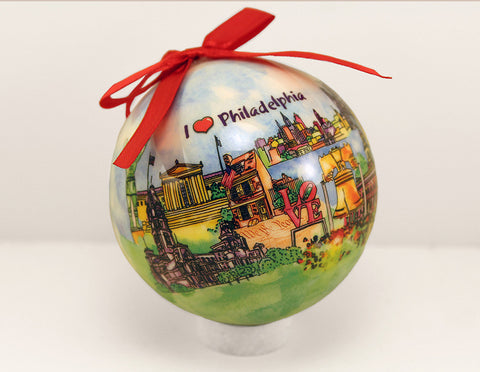 Philadelphia Watercolor Christmas Ball 80mm Ornament