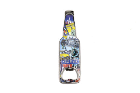 New York Retro Collage Magnet Bottle Shaped Opener