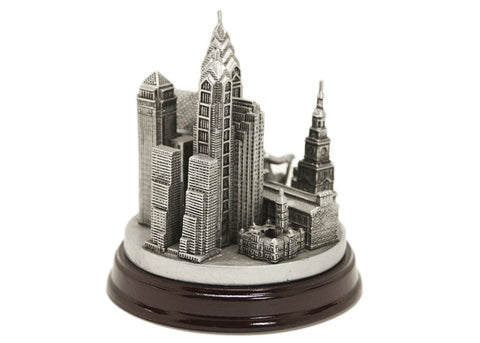 Ben Franklin and Philadelphia 3D Skyline (Silver)