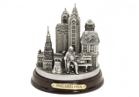 Ben Franklin and Philadelphia 3D Skyline (in Silver)