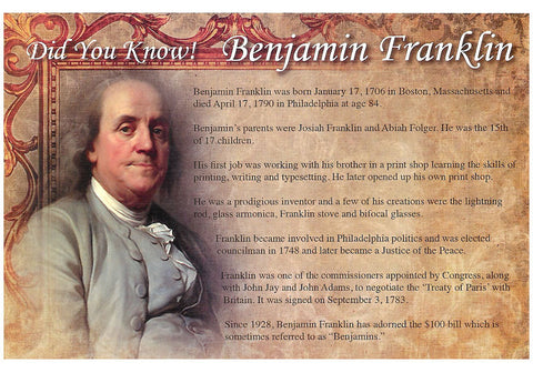 Benjamin Franklin Facts Postcard