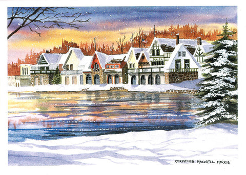 Winter Boat House Row Christmas boxed Cards