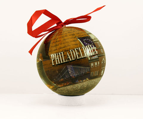 Liberty Bell Collage Ball 80mm Ornament