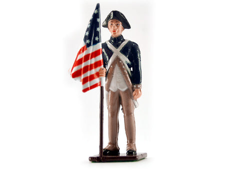 Colonial Flag Bearer Metal Soldier