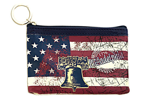 Philadelphia Distressed Flag Square Coin Purse
