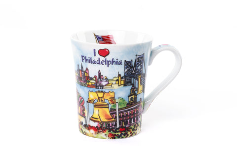 Philadelphia Watercolor Mug with Decorative Box