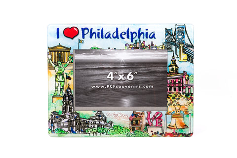 Philadelphia Watercolor Glass Photo Frame 4 x 6""