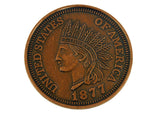 "Indian Head 1877 Penny Jumbo 3"" Coin"
