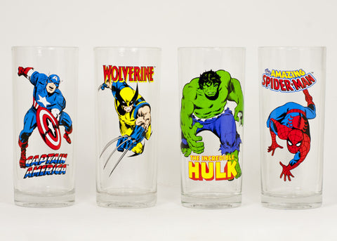Marvel Comics 10 oz glass set/Captain America, Wolverine, Hulk, Spiderman