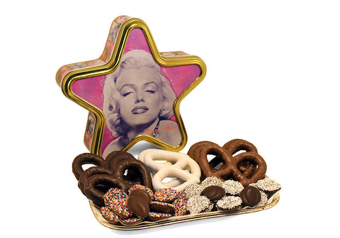 Marilyn Monroe Star Tin Gourmet Chocolate Pretzels & Nonpareils
