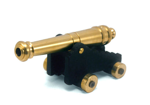 "Revolutionary War 24 Pounder Naval Cannon with Gold-Plated Wheels 5"" Long"