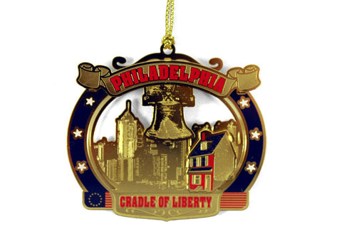 Philadelphia Skyline Brass Ornament
