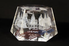 Philadelphia Landmarks Hexagonal USA Flag Glass Paper Weight