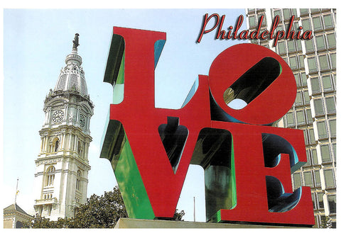 LOVE  Statue & City Hall Postcard