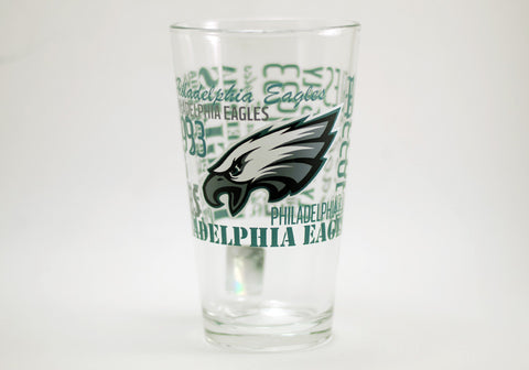 Philadelphia Eagles Typography Glass