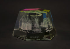 Philadelphia Landmarks Hexagonal Glass Paper Weight