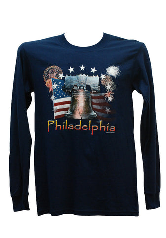 Philadelphia Liberty Bell Long Sleeve Shirt (Navy)