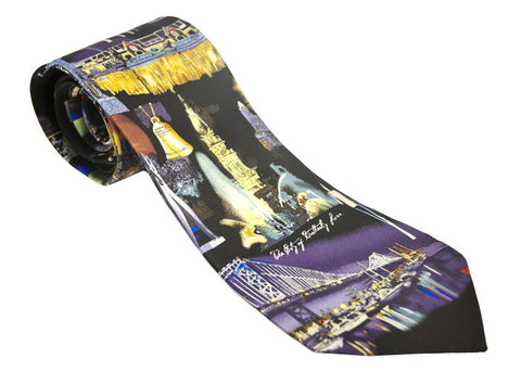 Philadelphia Landmarks at Night Necktie