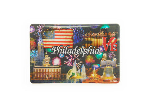 Philadelphia Landmarks at Night Lucite Magnet