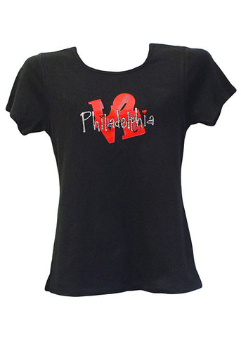 Philadelphia LOVE Rhinestone Ladies Fit Shirt