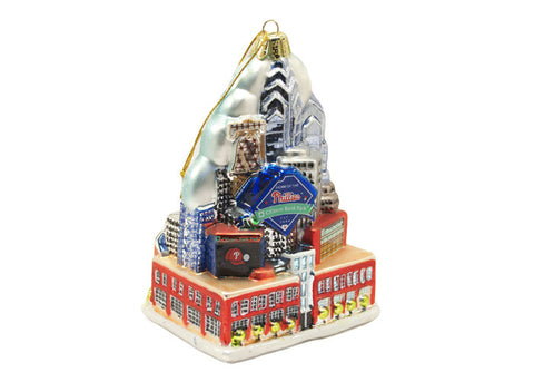 Phillies Glass City Skyline Ornament