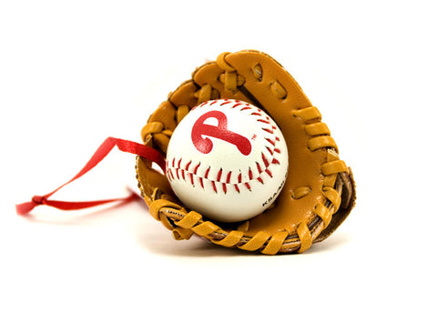 Phillies Baseball & Mitt Ornament