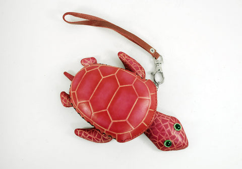 Leather Sea Turtle  Purse Wristlet