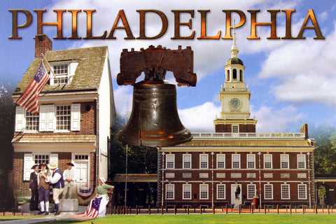 Philadelphia Three(3) Landmarks Postcard